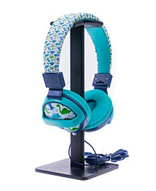 SafeSounds - Kids Blue Dino Printed Volume-Limiting Wired Headphones