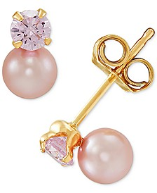 Pink Cultured Freshwater Pearl (4mm) & Cubic Zirconia Stud Earrings in 14k Gold