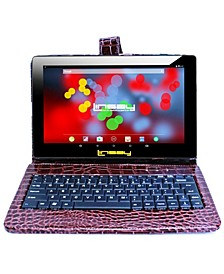 "10.1"" 1280x800 IPS Screen Quad Core 2GB RAM Tablet 32GB Android 10 with Brown Crocodile Style Keyboard"
