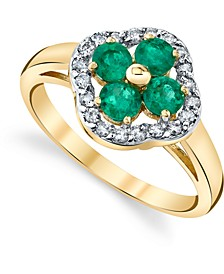 Emerald (3/4 ct. t.w.) & Diamond (1/5 ct. t.w.) Clover Statement Ring in 14k Gold