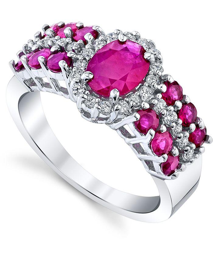 Macy's - Ruby (2-1/5 ct. t.w.) & Diamond (1/4 ct. t.w) Statement Ring in 10k White Gold