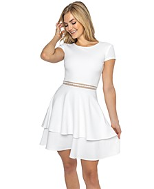 Juniors' Cap-Sleeve Tiered A-Line Dress