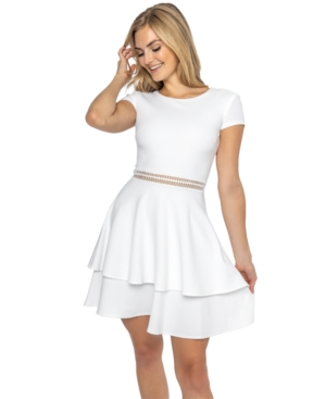 B Darlin Juniors' Cap-Sleeve Tiered A-Line Dress