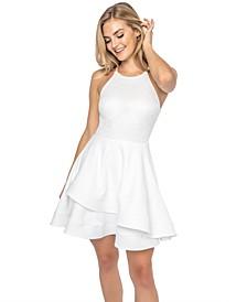 Juniors' Lace-Bodice A-Line Dress