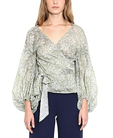 Cotton Paisley-Print Wrap Top