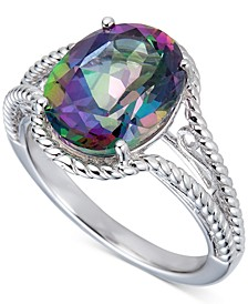 Mystic Topaz Oval Rope Detail Ring (4-1/2 ct. t.w.) in Sterling Silver