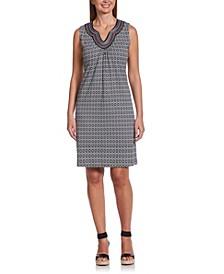 Diamonte Geo Print Sleeveless Dress with Embroidery