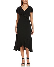 Solid Ruffle Short Cap Sleeve Dress with Hardware