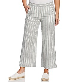 Comfort Fit Linen Blend Stripe Crop Pant with Buttons