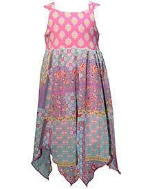 Little Girls Printed Handkerchief-Hem Dress