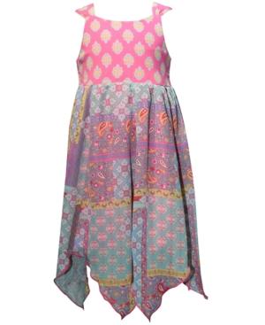 Blueberi Boulevard Little Girls Printed Handkerchief-Hem Dress