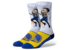 Men's Golden State Warriors Stephen Curry Big Head Crew Socks
