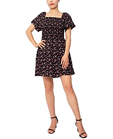 Juniors' Smocked Short-Sleeve Dress