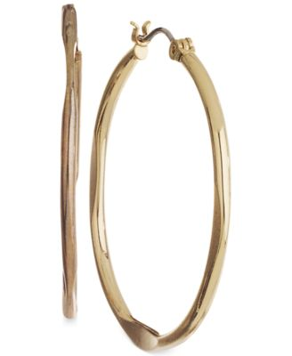 Image of Nine West Earrings, Gold-Tone Medium Hoop Earrings