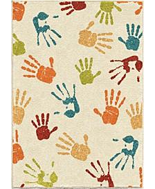 "Teenybopper Handprints Ivory 5'2"" x 7'6"" Area Rug"