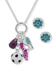 Silver-Tone Pavé Soccer Charm Pendant Necklace & Stud Earrings Set