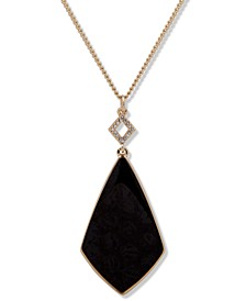 """Gold-Tone Stone & Crystal Long Pendant Necklace, 32"""" + 3"""" extender"""