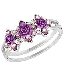 Silver-Tone Crystal & Rose Double-Row Bangle Bracelet