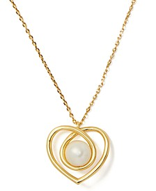 "Gold-Tone Imitation Pearl Infinite Heart Pendant Necklace, 17"" + 3"" extender"