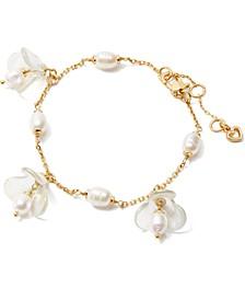 Gold-Tone Freshwater Pearl (5x7mm) Flower Charm Bracelet