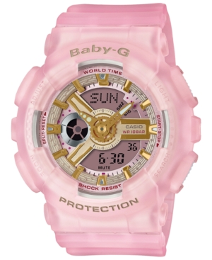 Baby-g Women's Analog-Digital Frosted Pink Resin Strap Watch 43.4mm