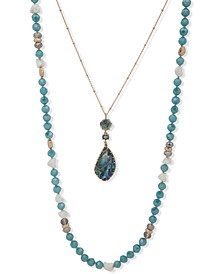 """Gold-Tone Bead & Stone 2-in-1 36"""" Layered Necklace"""