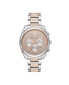 Women's Janelle Women's Two-Tone Pavé Glitz Bracelet Watch 42mm MK7098