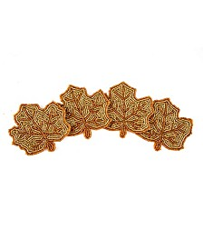 Beaded Leaf Coasters, Set of 4