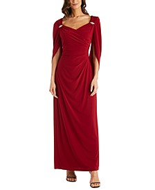 Embellished Drape-Back Gown