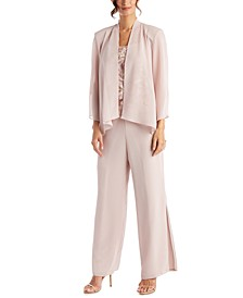 3-Pc. Jacket, Embroidered Top & Wide-Leg Pants Set