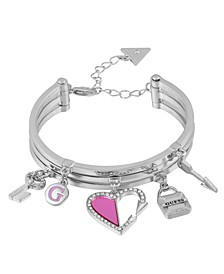 Silver-Tone Multi-Charm Bangle Bracelet