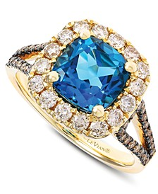Deep Sea Blue Topaz (2-5/8 ct. t.w.) & Diamond (3/4 ct. t.w.) Ring in 14k Gold
