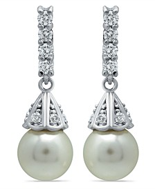 Imitation Pearl Cubic Zirconia Vintage Pyramid Style Drop Earrings Crafted in Fine Silver Plate