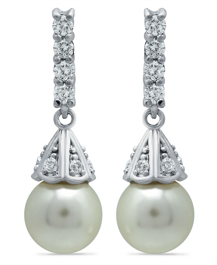 Macy's - Imitation Pearl Cubic Zirconia Vintage Pyramid Style Drop Earrings Crafted in Fine Silver Plate