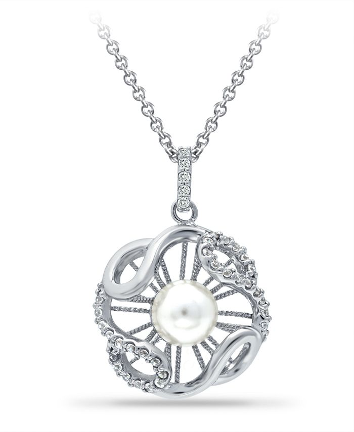 """Macy's - Imitation Pearl and Cubic Zirconia Crystal Halo Pendant Fine Silver Plate 18"""""""