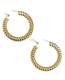 """Medium Coiled Hoop Earrings, 2.04"""""""