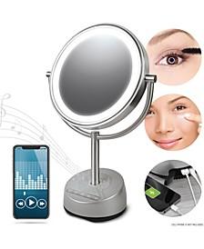 "Vanity Mirror Round LED 9"" with Bluetooth Speaker"