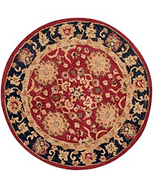 Anatolia An517 Red and Navy 4' x 4' Round Area Rug