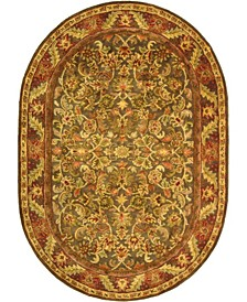 """Antiquity At52 Green and Gold 7'6"""" x 9'6"""" Oval Area Rug"""