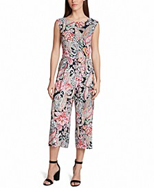 Printed Paisley Side-Tie Cropped-Leg Jumpsuit