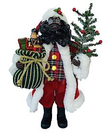 """15"""" Black Tartan Plaid Santa"""