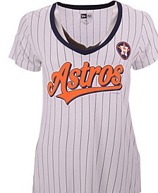 Women's Houston Astros Pinstripe V-Neck T-Shirt
