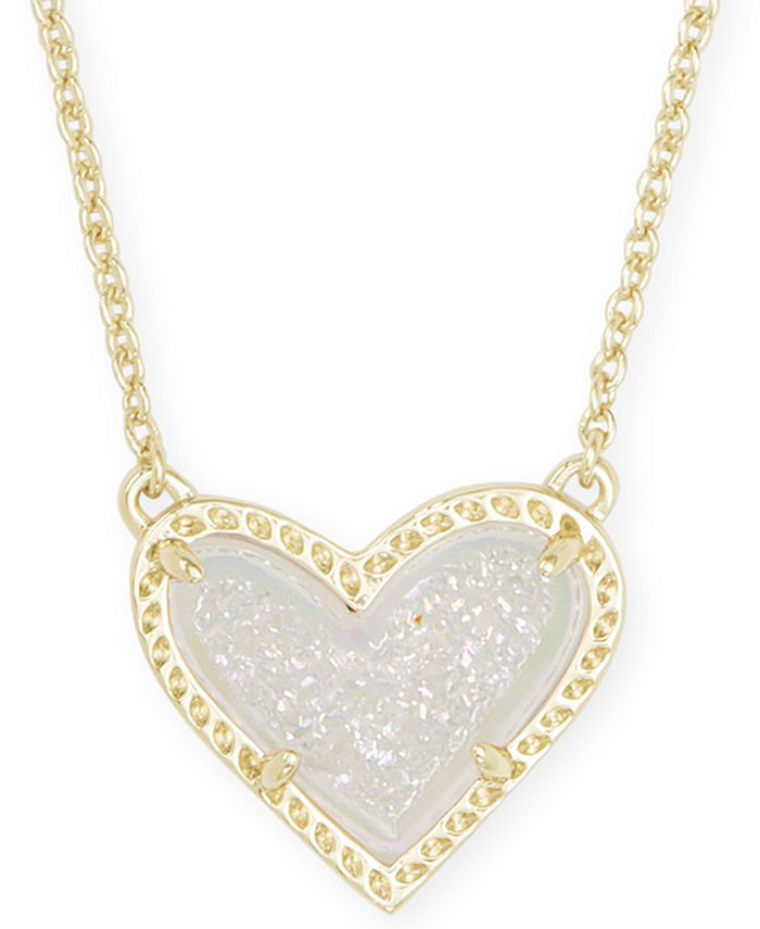 "Kendra Scott - Stone Heart Pendant Necklace, 15"" + 2"" extender"