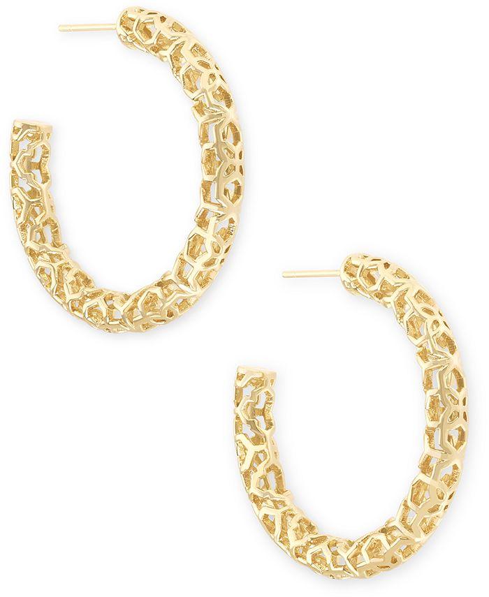 "Kendra Scott - Medium Openwork Tubular Hoop Earrings, 1.41"""
