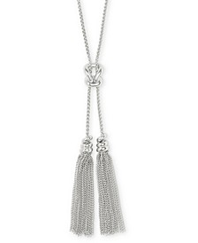 "Love Knot & Chain Tassel 30"" Lariat Necklace"
