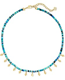 "Disc-Bead & Stud Charm Choker Necklace, 15"" + 2"" extender"