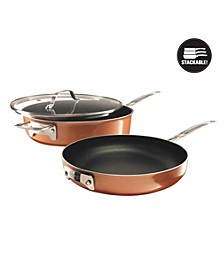 StackMaster Aluminum Ultra-Nonstick Cast Textured Ceramic Coating 3-Pc. Cookware Set