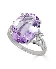 Amethyst (10 ct. t.w.) & Diamond (1/4 ct. t.w.) Ring in Sterling Silver