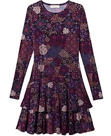 Mega Patchwork Printed Tiered Dress, Regular & Petite Sizes