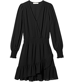 Ruffled Faux-Wrap Dress